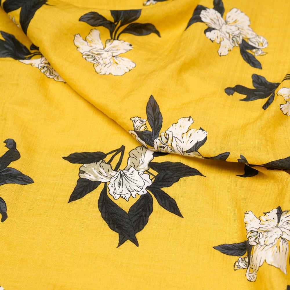 Tissu coton et viscose jaune à motif fleurs d'orchidées  - pretty mercerie - mercerie en ligne