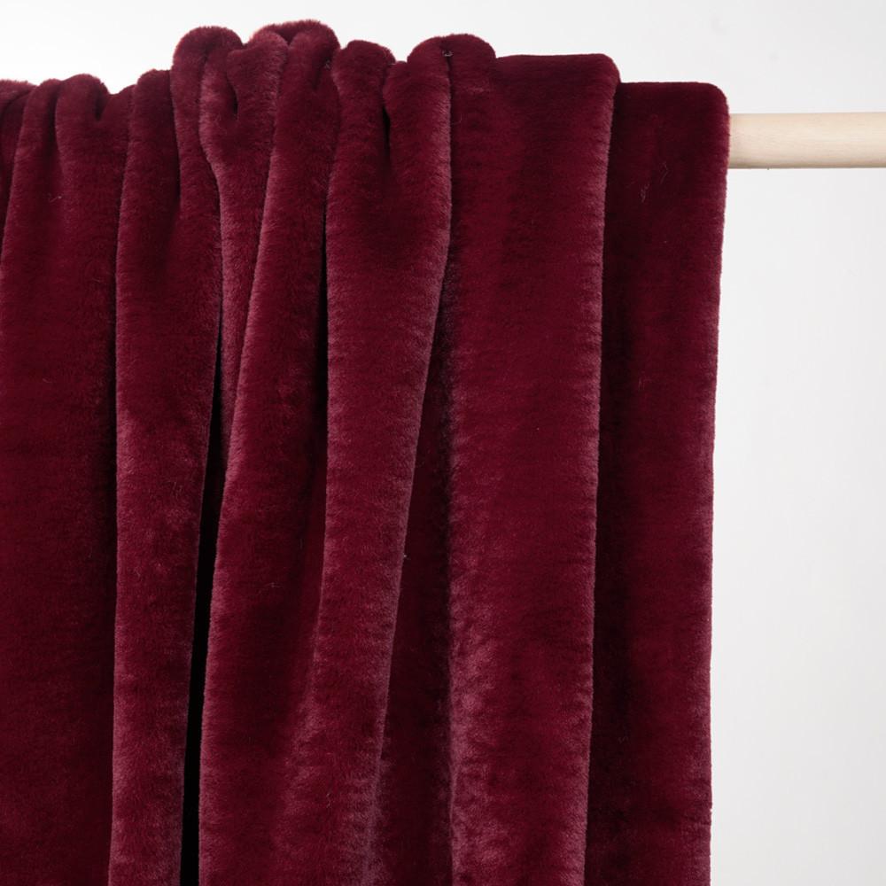 Tissu fausse fourrure rouge tibétain - pretty mercerie - mercerie en ligne