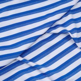 Tissu maillot de bain blanc à rayures bleu imperial et fil lurex argent - pretty mercerie - mercerie en ligne