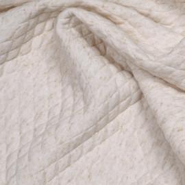 Tissu matelassé crème à motif losange moucheté beige - pretty mercerie - mercerie en ligne