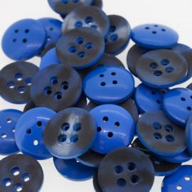 Bouton rond bi-color bleu & noir