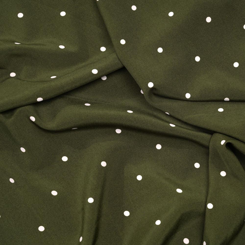 Tissu kaki à pois blanc cassé - Pretty Mercerie - mercerie en ligne