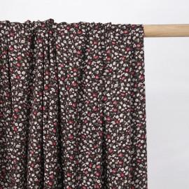 Tissu viscose hot chocolate à motif petites fleurs roses et blanches - pretty mercerie - mercerie en ligne