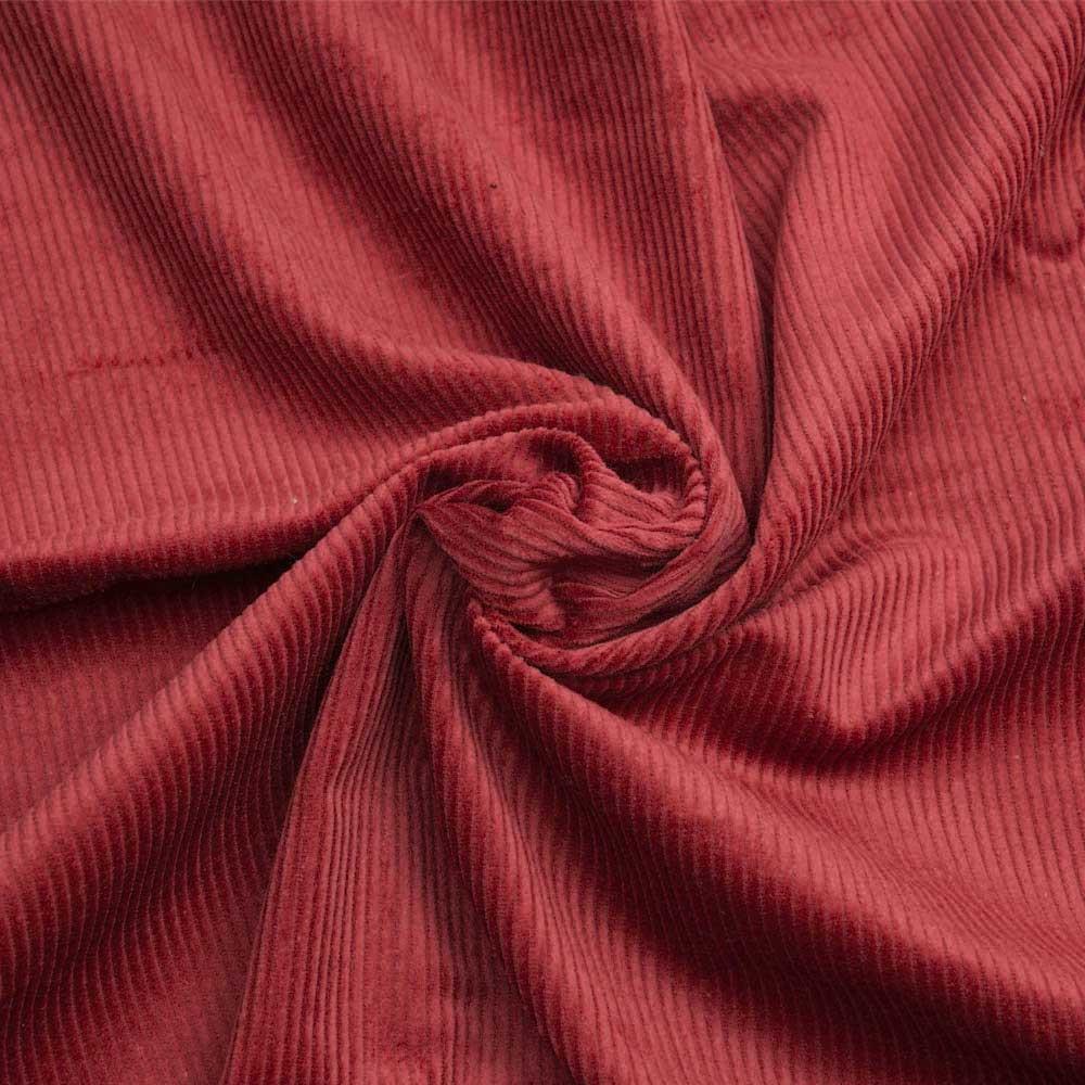 Tissu velours côtelé coton rouge de pompei - pretty mercerie - mercerie en ligne