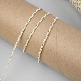 Galon tressé blanc et fil métallique or 3mm - pretty mercerie - mercerie en ligne