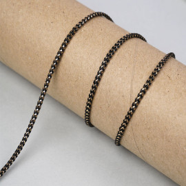 Cordon tressé chevron noir et fil lurex or 4mm - pretty mercerie - mercerie en ligne