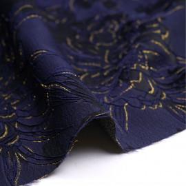 tissu jacquard bleu marine sergé à motif abstrait satiné X 10 CM