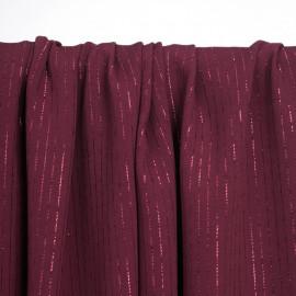 Tissu crêpe tibetan red à rayures lurex   pretty mercerie   mercerie en ligne