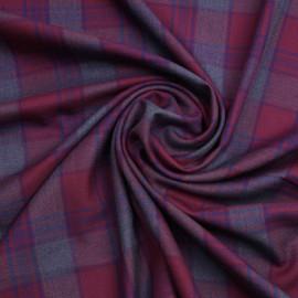Tissu flanelle tissé à carreaux rhododendron, bleu et gris | Pretty Mercerie | mercerie en ligne