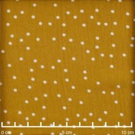 Tissu viscose ocre à motif petits pois blancs  | Pretty Mercerie | Mercerie en ligne