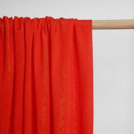Tissu viscose flame scarlet à motif rayures fil lurex or | Pretty Mercerie | Mercerie en ligne