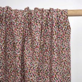 Tissu crêpe vert à motif bloom flower rose et beige | pretty mercerie | mercerie en ligne