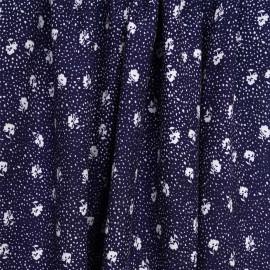 Tissu viscose bleu marine à motif fleuri et pois blanc   Pretty Mercerie   mercerie en ligne