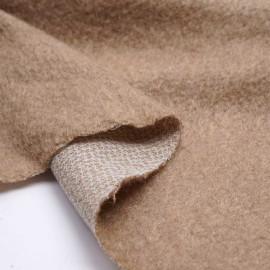 Tissu lainage mohair maille tricoté beige amande | Pretty Mercerie | Mercerie en ligne