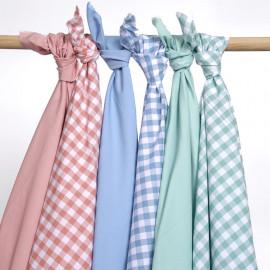 Tissu popeline de coton vichy blanc et bleu pastel | Pretty Mercerie | mercerie en ligne