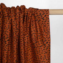 Tissu coton burnt orange à motif pois irrégulier et délavé noir  Pretty Mercerie   Mercerie en ligne
