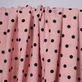 Tissu crêpe rose tan à motif pois noir   Pretty Mercerie   Mercerie en ligne