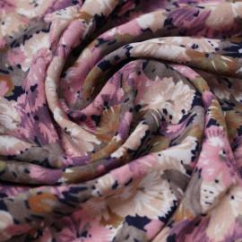 Tissu viscose bloom bleu marine à motif fleurie rose, kaki et beige | Pretty Mercerie | mercerie en ligne