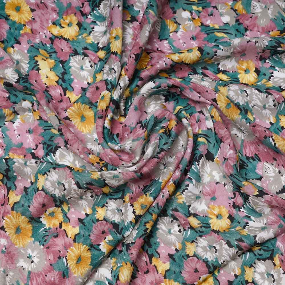 Tissu viscose bloom noir à motif fleurie rose, vert et jaune   Pretty Mercerie   mercerie en ligne