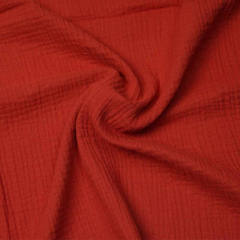tissu double gaze de coton red claye | Pretty Mercerie | mercerie en ligne