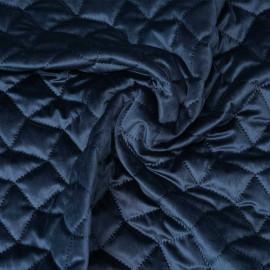 Tissu matelassé velours bleu marine à motif graphique / pretty mercerie / mercerie en ligne