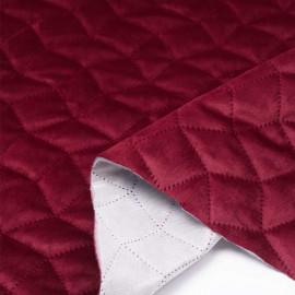 Tissu matelassé velours rouge garnet à motif graphique / pretty mercerie / mercerie en ligne