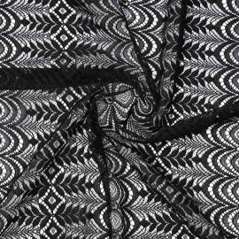 Tissu dentelle noir folk flower | pretty mercerie | mercerie en ligne