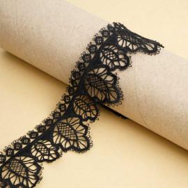 Ruban guipure noir à motif feuilles | pretty mercerie | mercerie en ligne