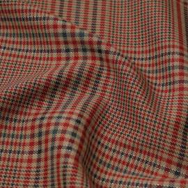 Tissu prince de Galles beige, vert et rouge à fil lurex argenté | Pretty Mercerie | mercerie en ligne