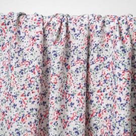 Tissu viscose rose blush à motif bloom bleu, vert et rose | Pretty Mercerie | Mercerie en ligne
