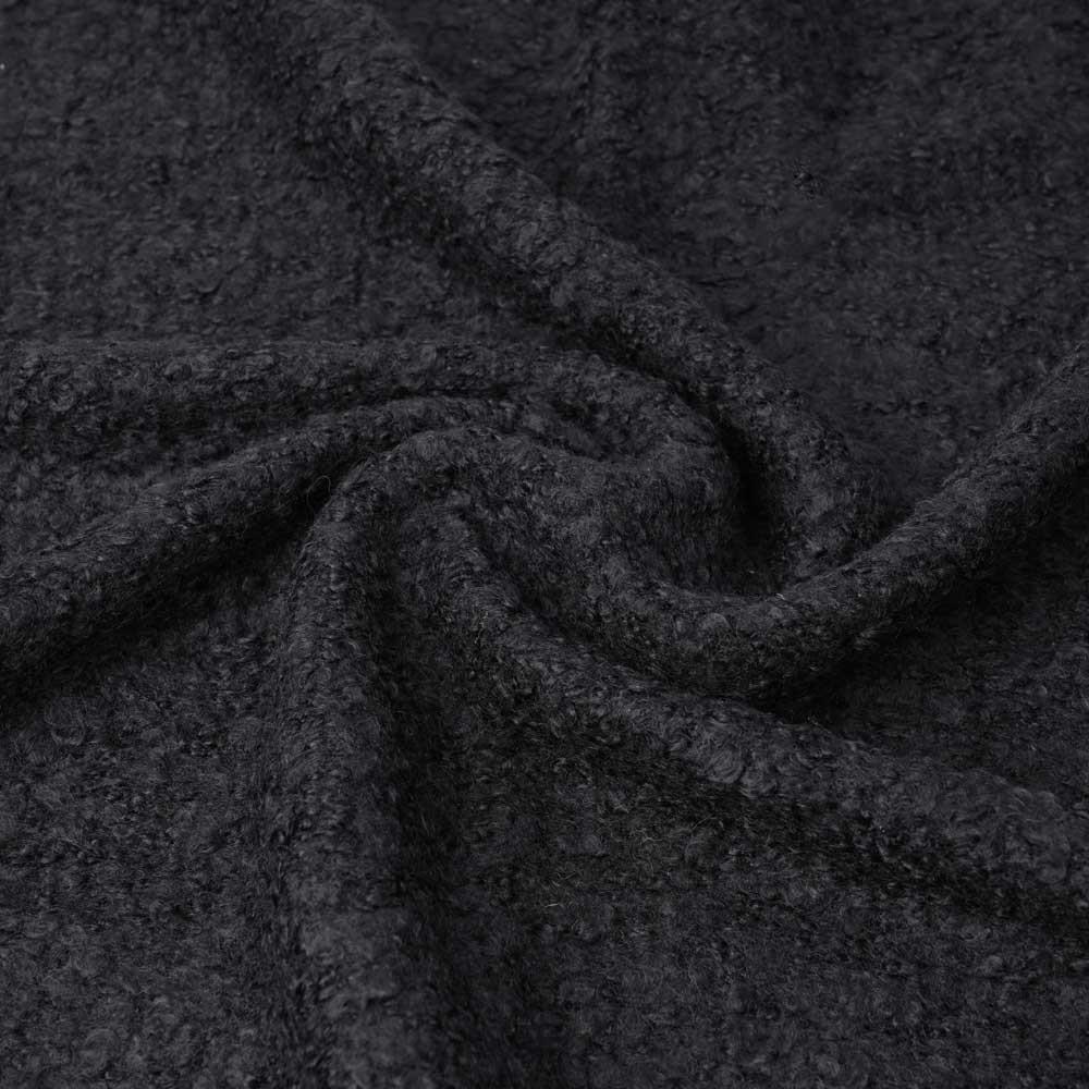 Tissu lainage maille bouclée noire | pretty mercerie | mercerie en ligne