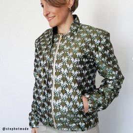 Tissu jacquard vert effet sergé couple of birds- tissus en ligne - pretty mercerie