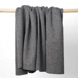 Tissu lainage gris maille tissée chevron fils dorés   pretty mercerie   mercerie en ligne