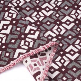 Tissu jacquard rhododendron à motif graphique rose et noir   Pretty Mercerie   mercerie en ligne