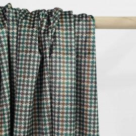Tissu velours beige à motif pied de poule vert, noir et caramel | Pretty Mercerie | mercerie en ligne