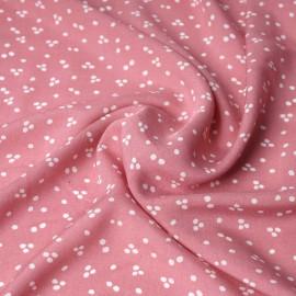 Tissu viscose rose icing à motif jolis pois blanc | pretty mercerie | mercerie en ligne