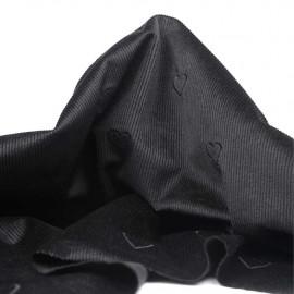 Tissu velours fines côtes noir à motif coeur brodé | Pretty Mercerie | mercerie en ligne