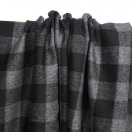 Tissu lainage léger à motif vichy noir et gris foncé | Pretty Mercerie | mercerie en ligne