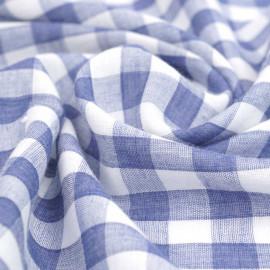 tissu double gaze de coton blanc à motif tissé vichy bleu   pretty mercerie   mercerie en ligne