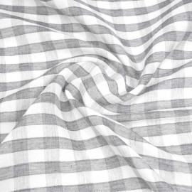 tissu double gaze de coton blanc à motif tissé vichy gris foncé | pretty mercerie | mercerie en ligne