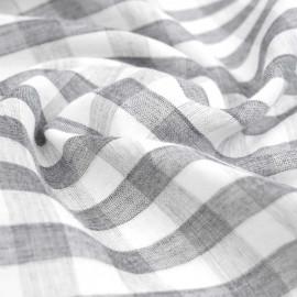 tissu double gaze de coton blanc à motif tissé vichy gris foncé   pretty mercerie   mercerie en ligne
