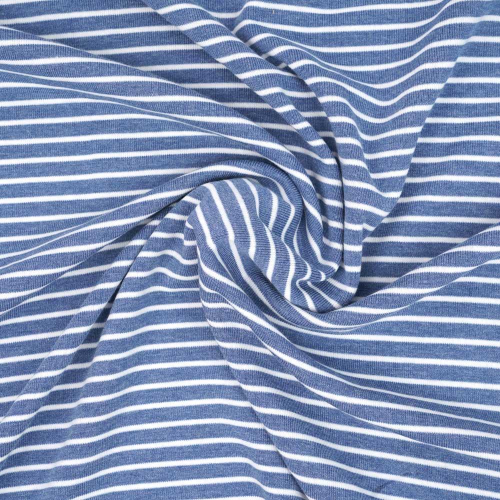 Tissu sweat gratté marinière bleu et blanc | pretty mercerie | mercerie en ligne