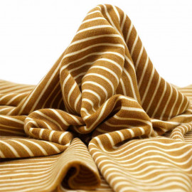 Tissu sweat gratté marinière sudan brown et crème  pretty mercerie   mercerie en ligne