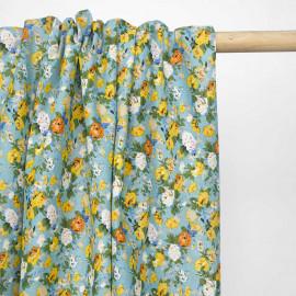 Tissu voile de coton bleu ciel à motif bouquet de rose jaune et vert | pretty mercerie | mercerie en ligne
