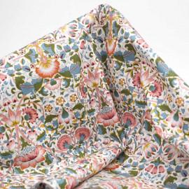 Tissu coton crème à motif fleurs entrelacées rose, vert et bleu | Pretty Mercerie | mercerie en ligne