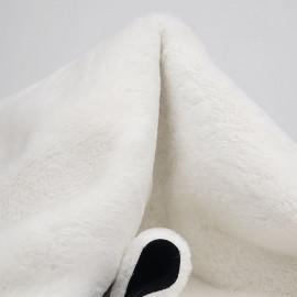 Tissu double face suédine noir et fausse fourrure blanche   pretty Mercerie   mercerie en ligne