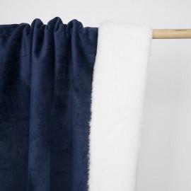 Tissu double face suédine bleu marine et fausse fourrure blanche | pretty mercerie | mercerie en ligne