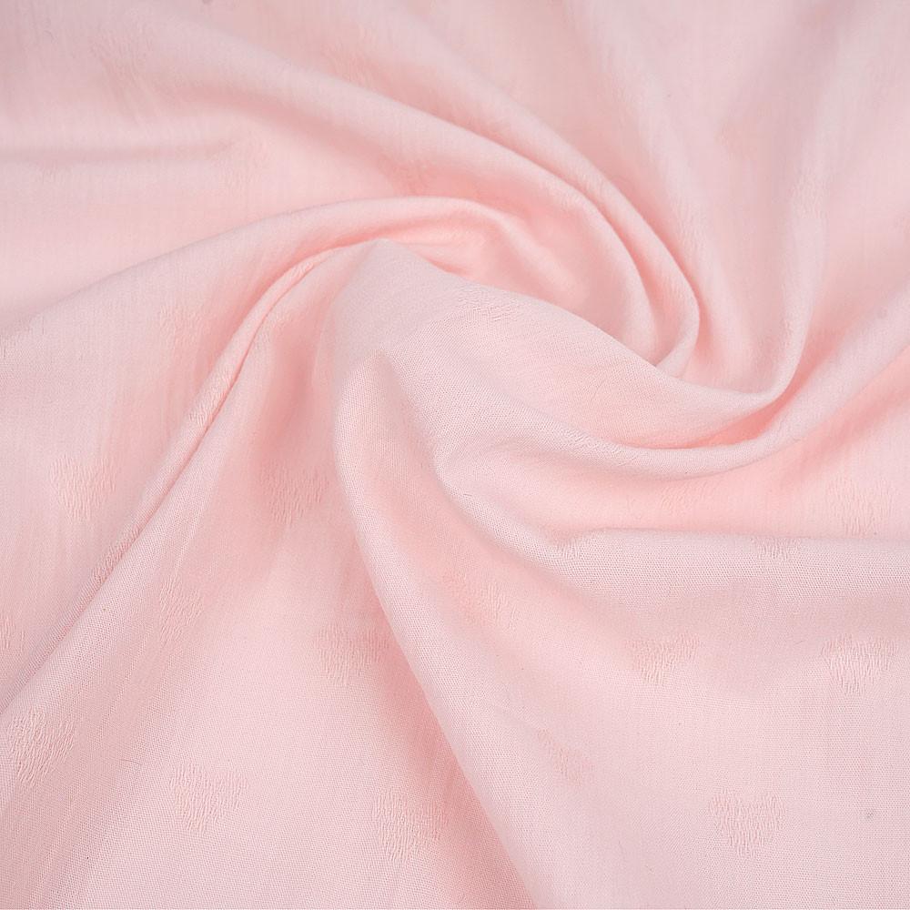 Tissu coton rose pâle à motif tissé petit coeur ton sur ton | pretty mercerie \ mercerie en ligne