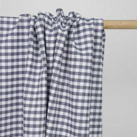 Tissu polycoton blue denim et blanc à motif tissé vichy | Pretty mercerie | mercerie en ligne