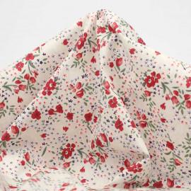 Tissu coton écru à motif tulipes et petites fleurs rouge et vert | pretty mercerie | mercerie en ligne